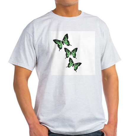 Three Green Butterflies Ash Grey T-Shirt