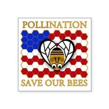 "PolliNATION - Save Our Bees Square Sticker 3"" x 3"""