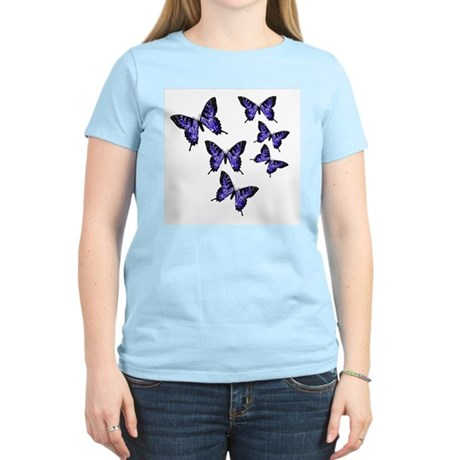 Purple Butterflies Women's Pink T-Shirt
