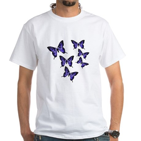 Purple Butterflies White T-Shirt