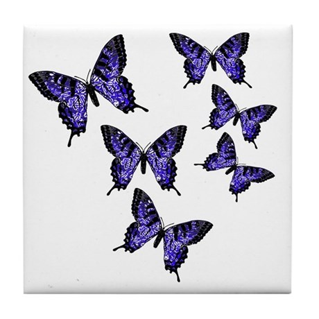Purple Butterflies Tile Coaster