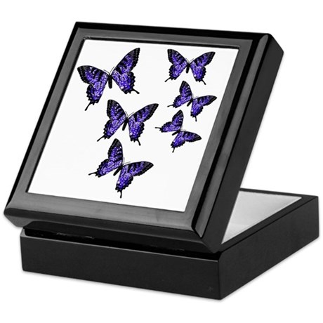 Purple Butterflies Keepsake Box