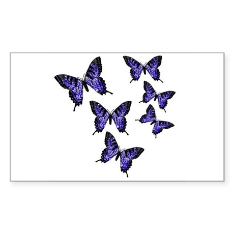 Purple Butterflies Rectangle Sticker