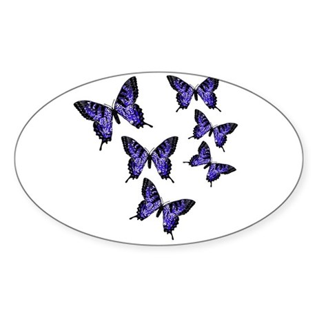 Purple Butterflies Oval Sticker