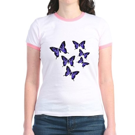 Purple Butterflies Jr. Ringer T-Shirt