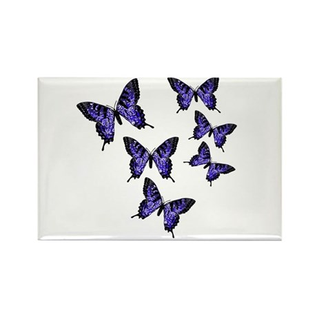 Purple Butterflies Rectangle Magnet (100 pack)