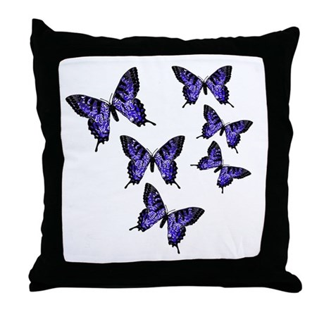 Purple Butterflies Throw Pillow