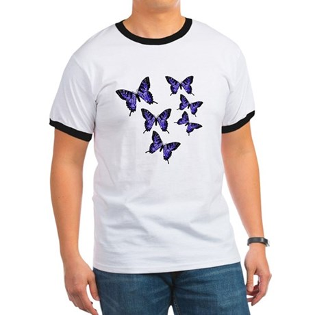 Purple Butterflies Ringer T