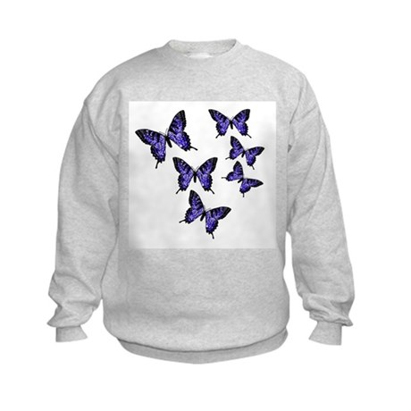 Purple Butterflies Kids Sweatshirt