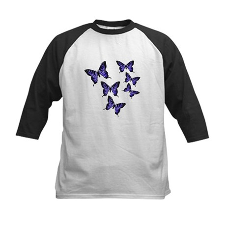 Purple Butterflies Kids Baseball Jersey