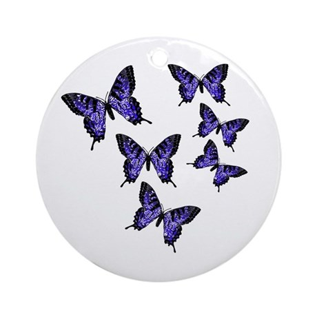 Purple Butterflies Ornament (Round)