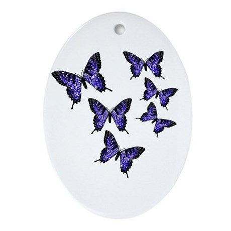Purple Butterflies Oval Ornament