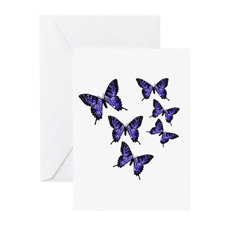 Purple Butterflies Greeting Cards (Pk of 10)