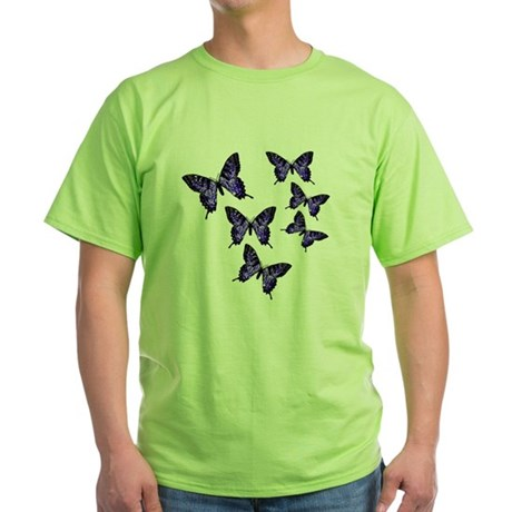 Purple Butterflies Green T-Shirt