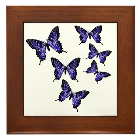 Purple Butterflies Framed Tile