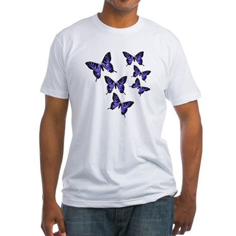 Purple Butterflies Fitted T-Shirt