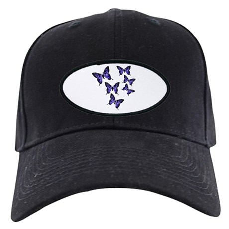 Purple Butterflies Black Cap