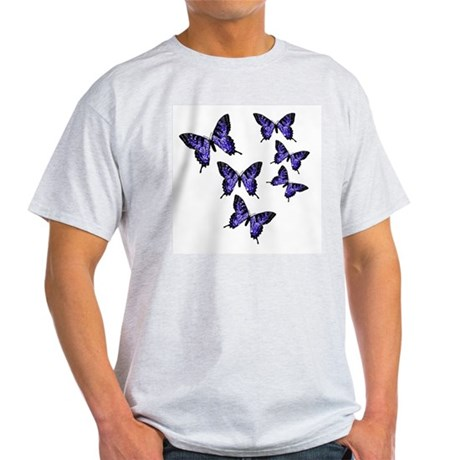 Purple Butterflies Ash Grey T-Shirt