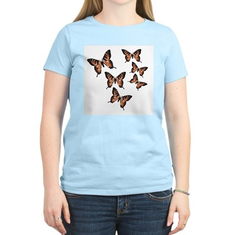 Orange Butterflies Women's Pink T-Shirt