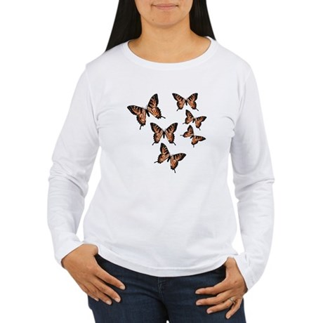 Orange Butterflies Women's Long Sleeve T-Shirt