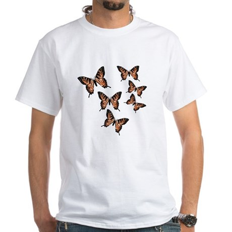 Orange Butterflies White T-Shirt