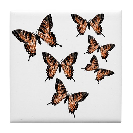 Orange Butterflies Tile Coaster