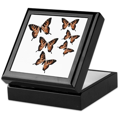 Orange Butterflies Keepsake Box