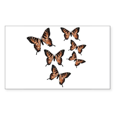 Orange Butterflies Rectangle Sticker