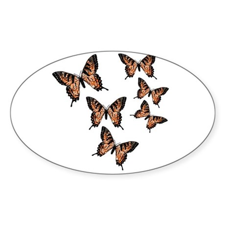 Orange Butterflies Oval Sticker