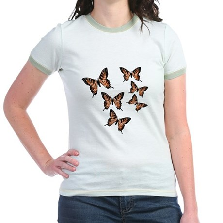Orange Butterflies Jr. Ringer T-Shirt