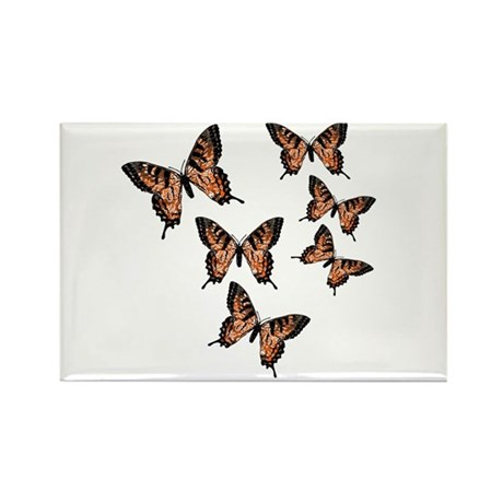 Orange Butterflies Rectangle Magnet