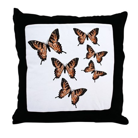 Orange Butterflies Throw Pillow