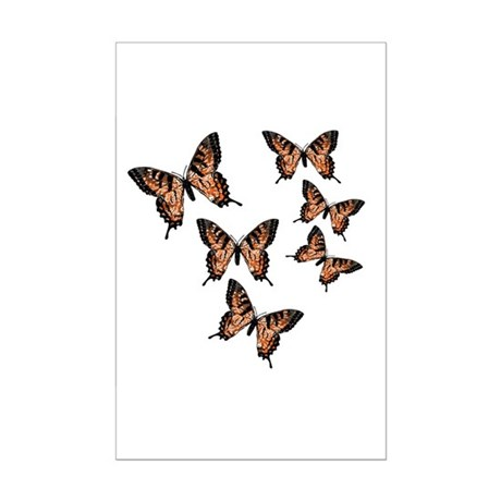 Orange Butterflies Mini Poster Print