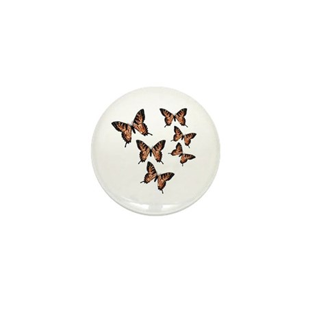 Orange Butterflies Mini Button