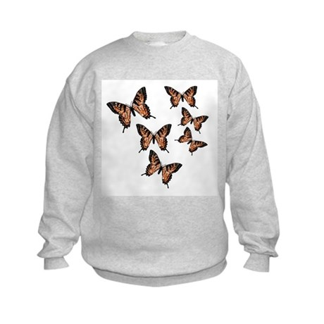 Orange Butterflies Kids Sweatshirt