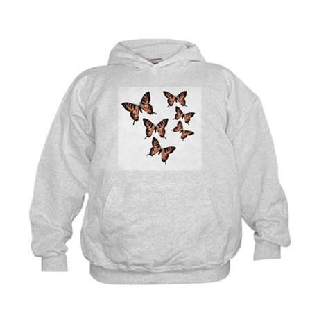 Orange Butterflies Kids Hoodie