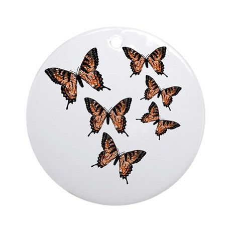 Orange Butterflies Ornament (Round)