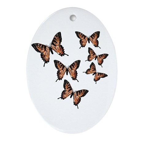 Orange Butterflies Oval Ornament