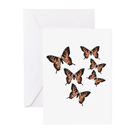 Orange Butterflies Greeting Cards (Pk of 10)