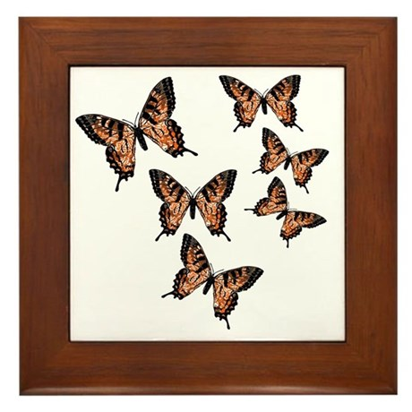 Orange Butterflies Framed Tile