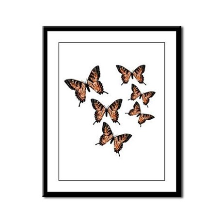 Orange Butterflies Framed Panel Print