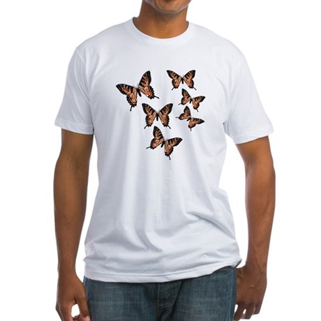 Orange Butterflies Fitted T-Shirt