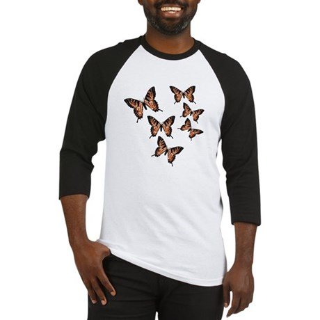 Orange Butterflies Baseball Jersey