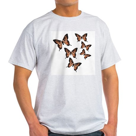 Orange Butterflies Ash Grey T-Shirt