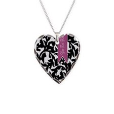 Black and White Pattern with Purple Banner Necklac