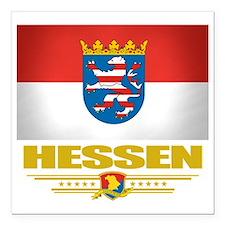 """Hessen (Flag 10) Square Car Magnet 3"""" x 3"""""""
