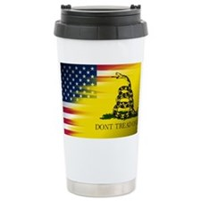 American and Gadsden Flag Ceramic Travel Mug
