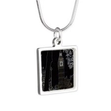 neon big ben001 copy Silver Square Necklace