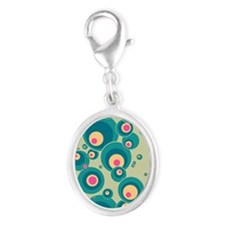 443 Bubbles1 Silver Oval Charm