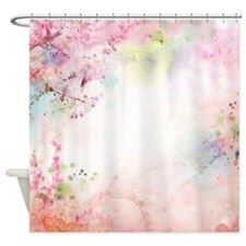 Pink Watercolor Floral Shower Curtain